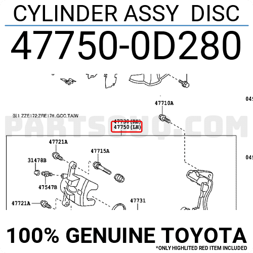 477500D280 Toyota CYLINDER ASSY DISC, Price: 248.37
