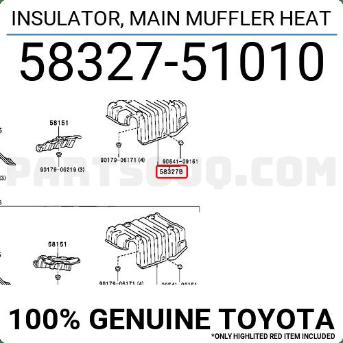 5832751010 Toyota INSULATOR, MAIN MUFFLER HEAT, Price: 68