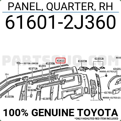 616012J360 Toyota PANEL, QUARTER, RH, Price: 488.38