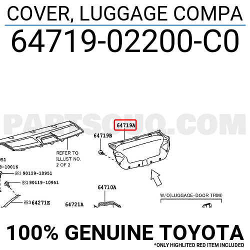 6471902200C0 Toyota COVER, LUGGAGE COMPA, Price: 87.63