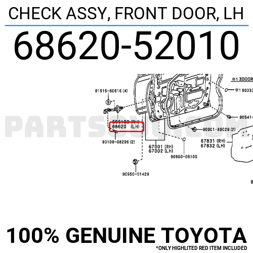 6862052010 Toyota CHECK ASSY, FRONT DOOR, LH, Price: 43.64