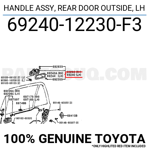 6924012230F3 Toyota HANDLE ASSY, REAR DOOR OUTSIDE, LH