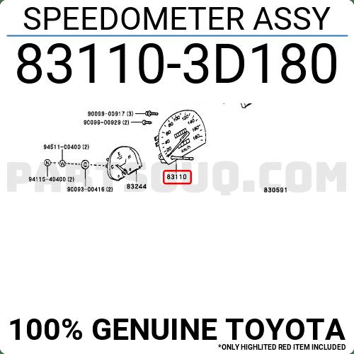 831103D180 Toyota SPEEDOMETER ASSY, Price: 168.08$, Weight