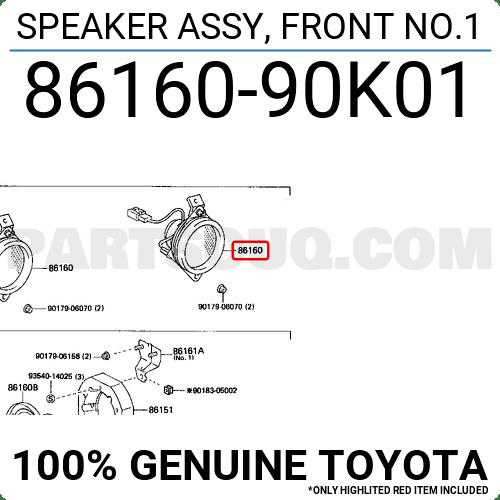 8616090K01 Toyota SPEAKER ASSY, FRONT NO.1, Price: 28.50
