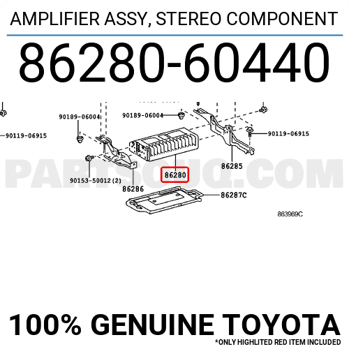 8628060440 Toyota AMPLIFIER ASSY, STEREO COMPONENT, Price