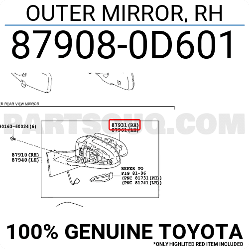 879080D601 Toyota OUTER MIRROR, RH, Price: 41.20$, Weight