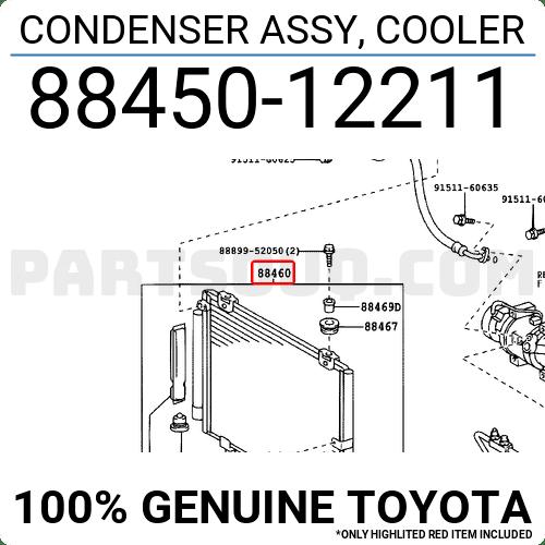 8845012211 Toyota CONDENSER ASSY, COOLER, Price: 403.85