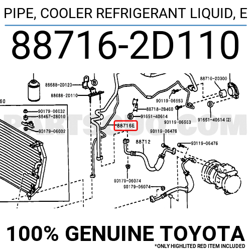 887162D110 Toyota PIPE, COOLER REFRIGERANT LIQUID, E
