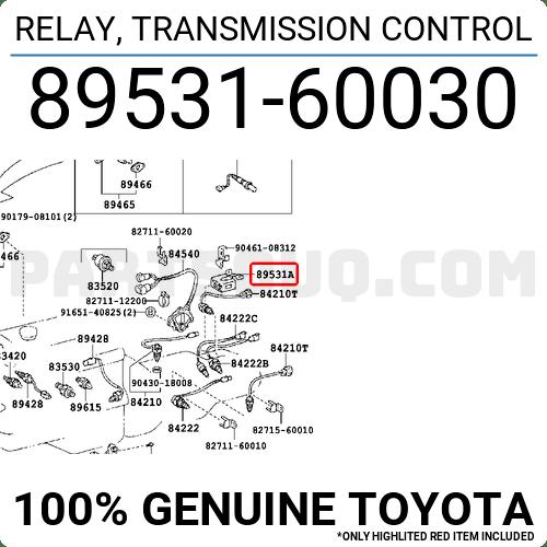 8953160030 Toyota RELAY, TRANSMISSION CONTROL, Price: 128