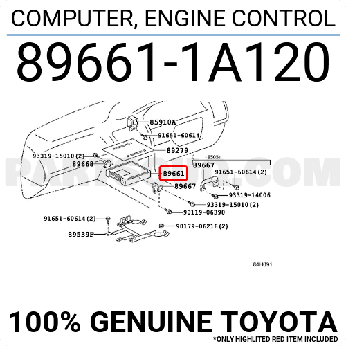 896611A120 Toyota COMPUTER, ENGINE CONTROL, Price: 837.23