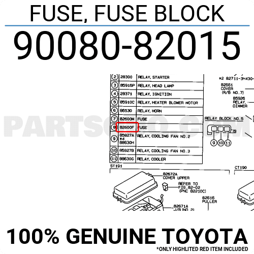 9098209005 Toyota FUSE, FUSE BLOCK, Price: 0.62$, Weight