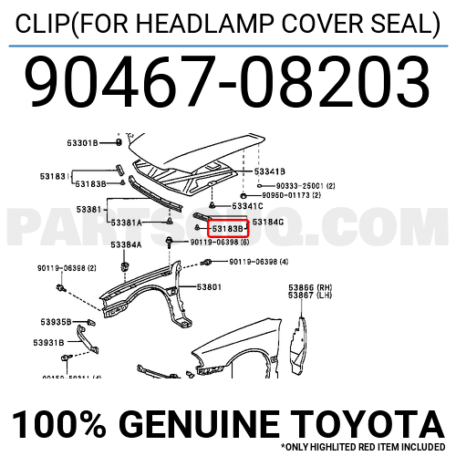 9046708203 Toyota CLIP(FOR HEADLAMP COVER SEAL), Price: 0