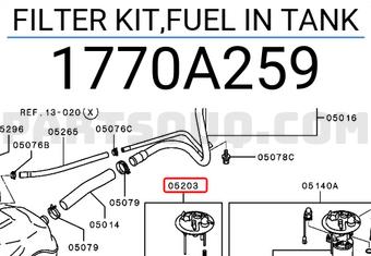 1770A259 Mitsubishi FILTER KIT,FUEL IN TANK Price: 88.91