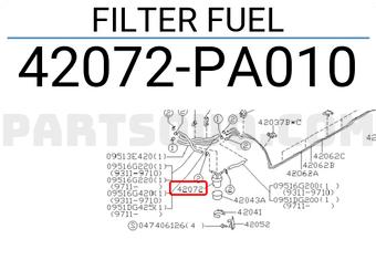 42072AA011 Subaru FILTER FUEL Price: 30.77$, Weight: 0