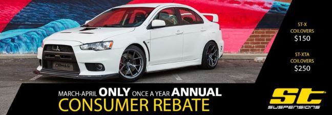 ST Suspensions: Get up to $250 Back on Coilovers During Annual Consumer Rebate