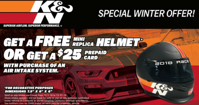 K&N Free Mini Helmet or $25 Card on Air Intakes