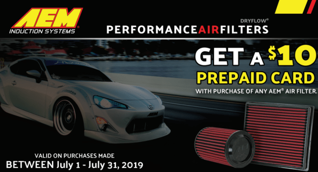 AEM Induction Systems: Get $10 Back on Air Filters