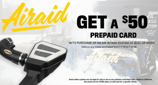 AIRAID: Get $50 Back on Air Intake System Purchases of $250 or More