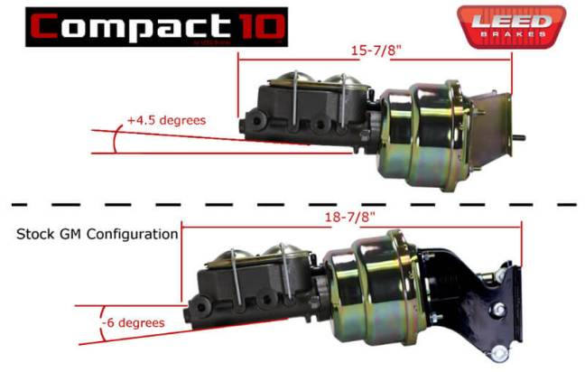 LEED Brakes COMPACT10 Power Brake Booster Kits for 67-72 CK 10 Trucks
