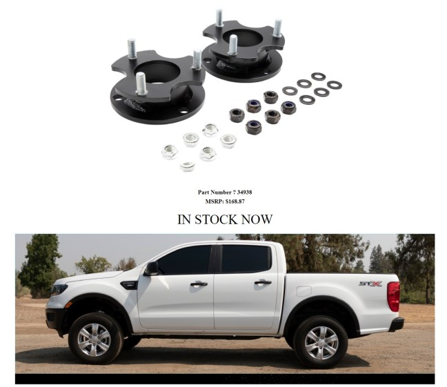 Belltech 2.5 Inch Leveling Kit for 19-20 Ford Ranger 34938