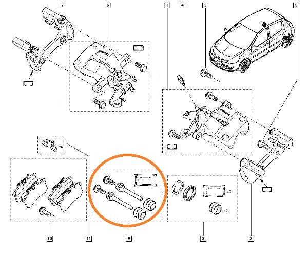 New GENUINE RENAULT SPORT set repair kit caliper rear Clio