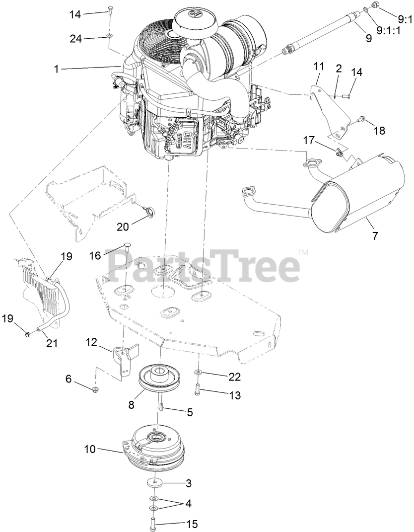 Toro Z Master Drive Belt Diagram : master, drive, diagram, 74902, (6000), 122cm, Master, Zero-Turn, Mower,, Side-Discharge, 313000001, 313999999), (2013), ENGINE,, MUFFLER, CLUTCH, ASSEMBLY, Parts, Lookup, Diagrams, PartsTree