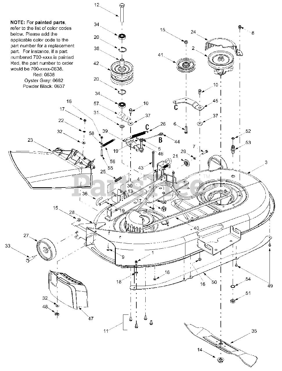 Troy Bilt Bronco Deck Belt Diagram : bronco, diagram, Troy-Bilt, 13AJ609G766, Bronco, Tractor, (2004), Assembly, Parts, Lookup, Diagrams, PartsTree