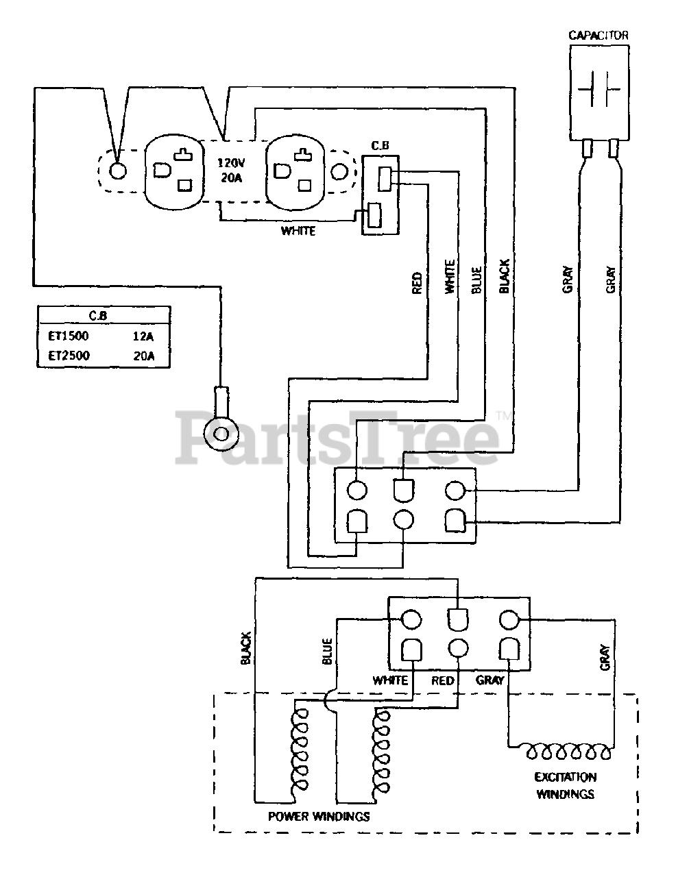 Generator Wiring Diagram : generator, wiring, diagram, Generac, ET2500, (1263-0), 2,500, Portable, Generator, Wiring, Diagram, Parts, Lookup, Diagrams, PartsTree