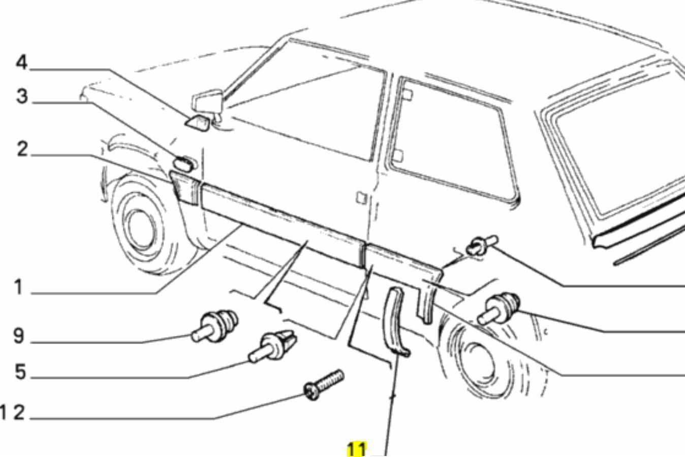 Fiat Mk2 Panda Nearside Left Rear Quarter Panel Wheel Arch