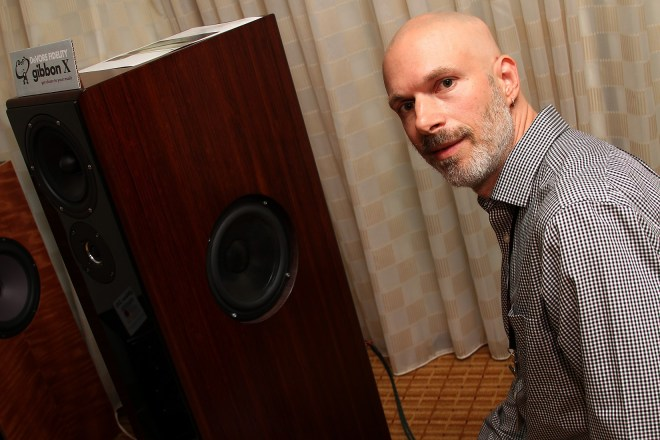 John DeVore and his latest creation – an almost four-year project – the Gibbon X loudspeaker