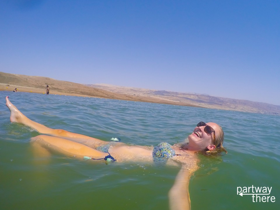 Amanda Plewes floating in the Dead Sea in Jordan