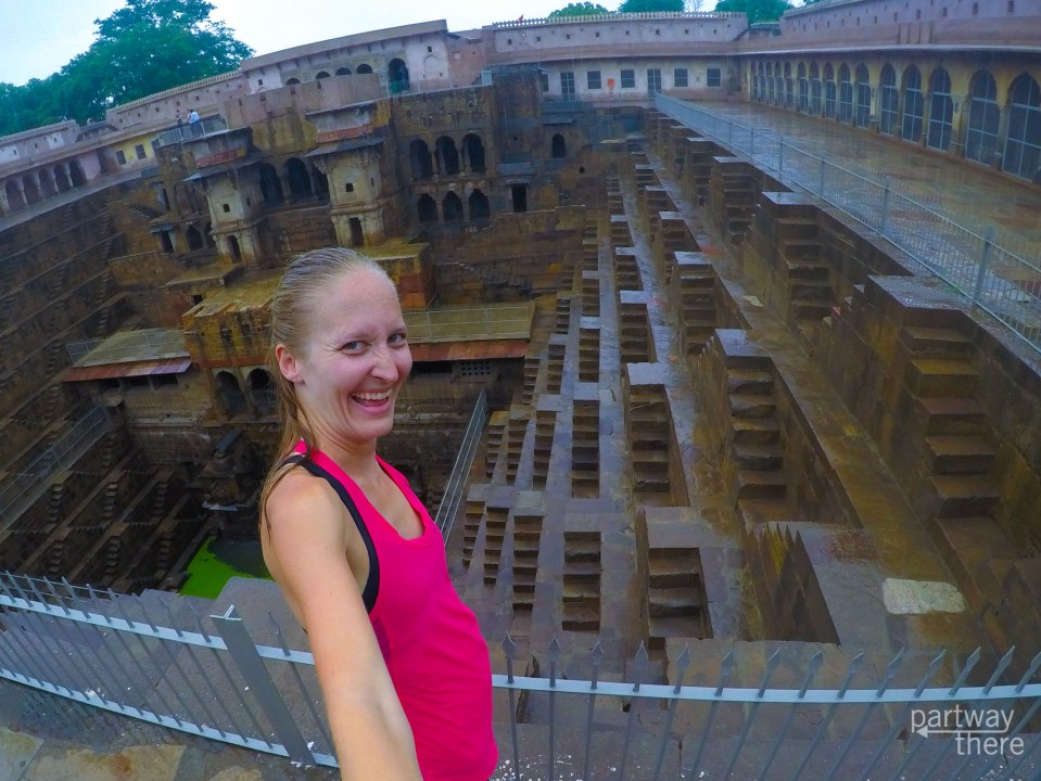 Amanda Plewes at a stepwell in India