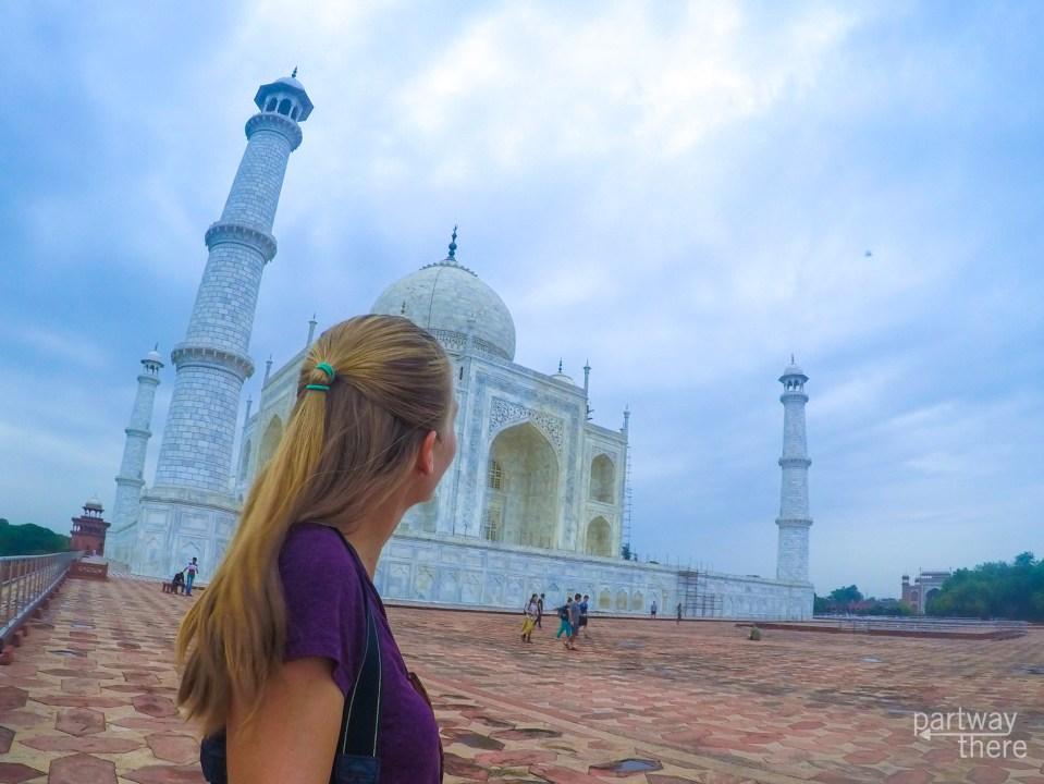 Amanda Plewes at the side of the Taj Mahal