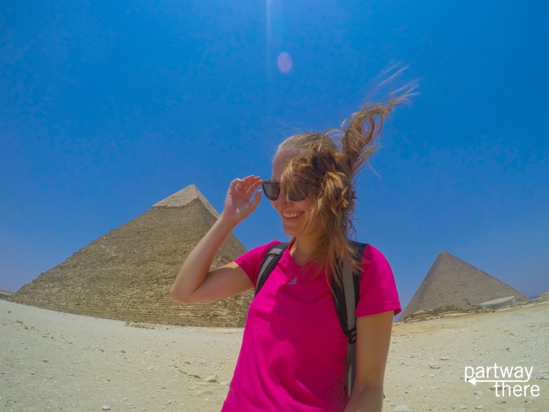 Amanda Plewes at the pyramids in Cairo, Egypt
