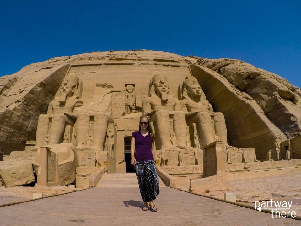Amanda Plewes outside Abu Simbel near Aswan, Egypt