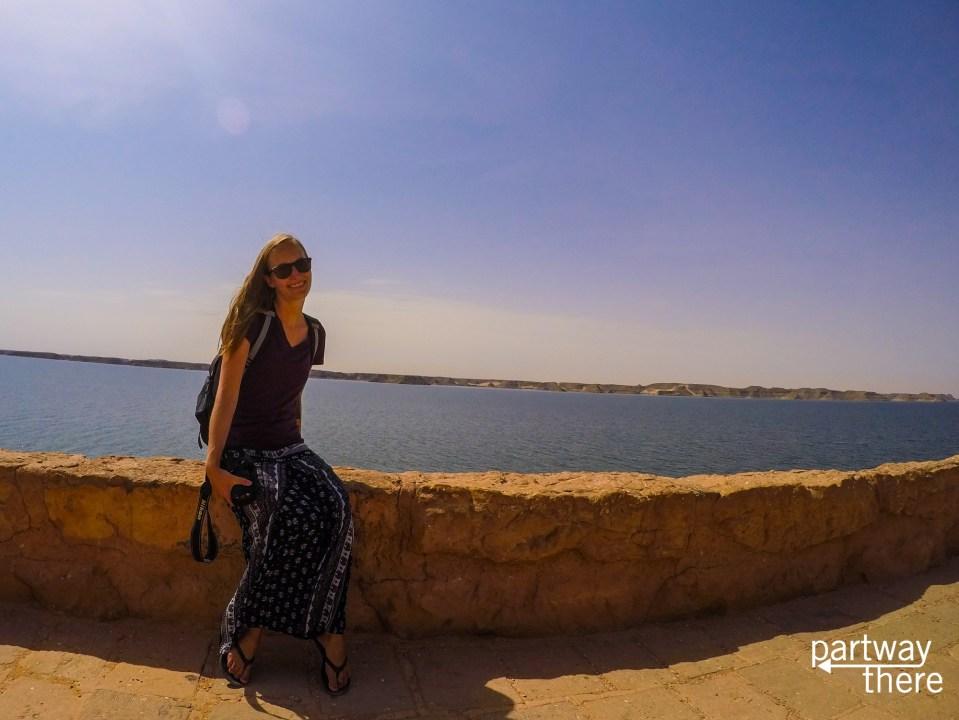 Amanda Plewes in front of Lake Nasser