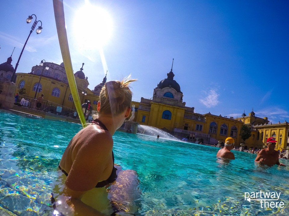 Amanda Plewes at the baths in Budapest