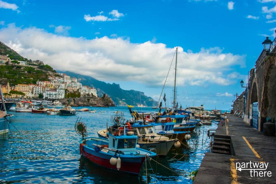Boats docked in Amalfi