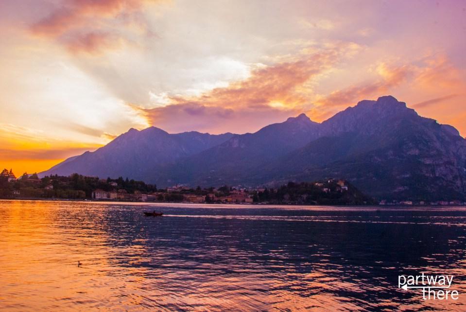 sunset on Lake Como