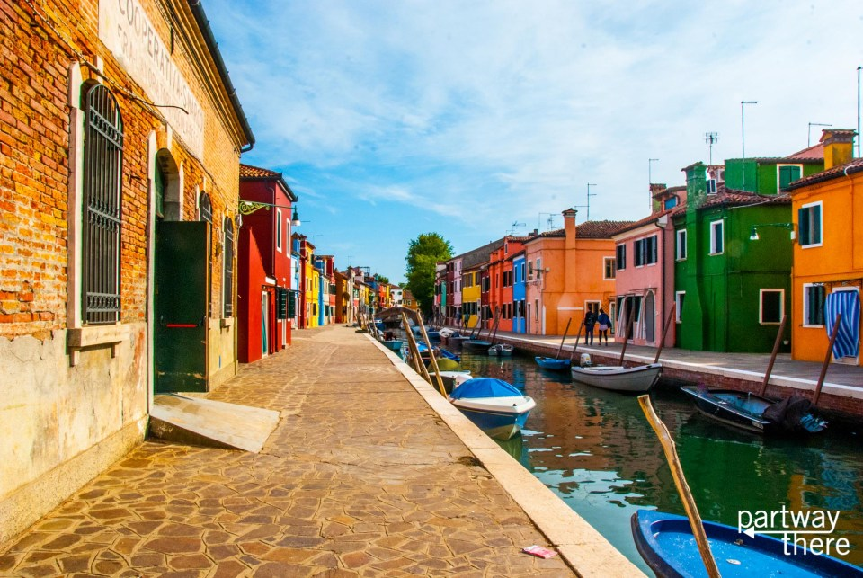 Looking down the streets of Burano