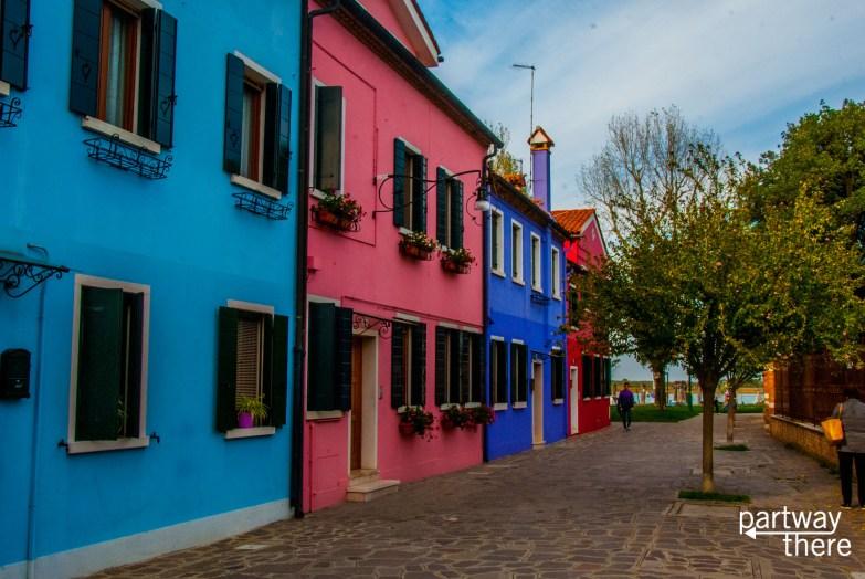 Colorful street in Burano, Venice, Italy