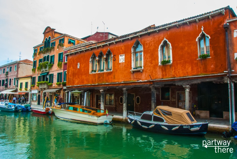 Glassworks on canal in Murano, Italy