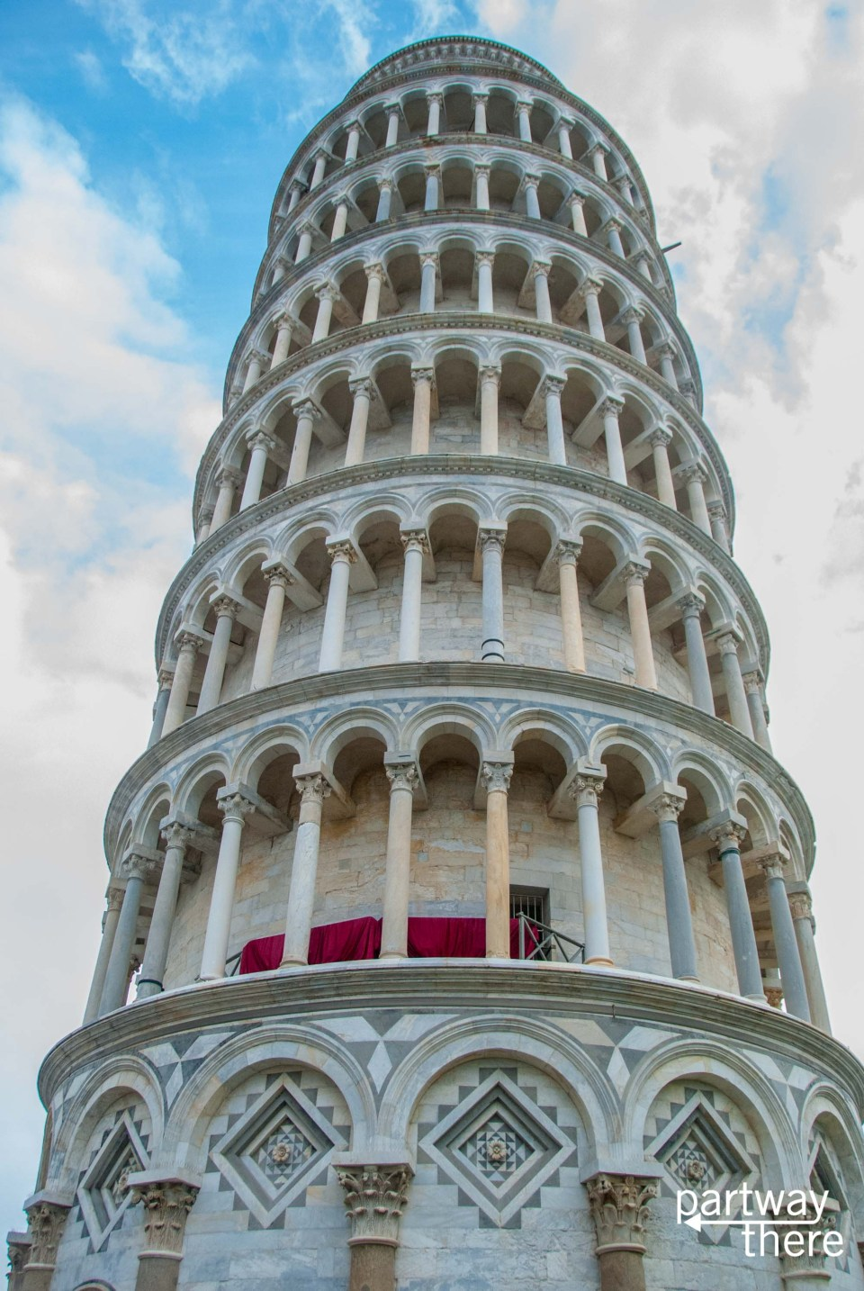 Close-up of the Leaning Tower of Pisa
