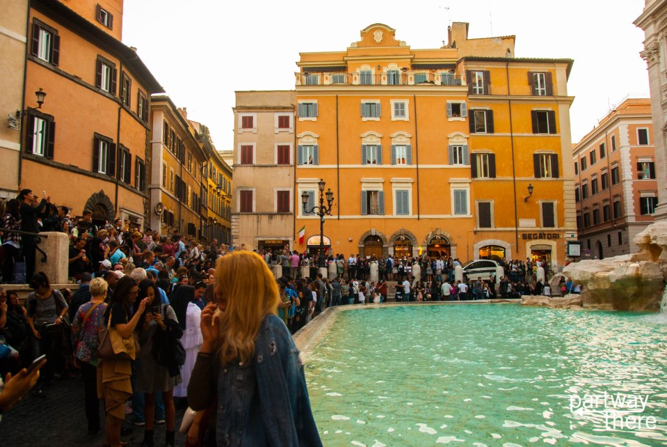Crowds at Trevi Fountain in Rome, Italy