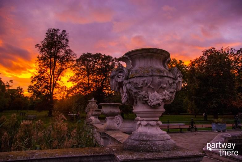 Stunning sunset from Italian Water Gardens in Hyde Park, London