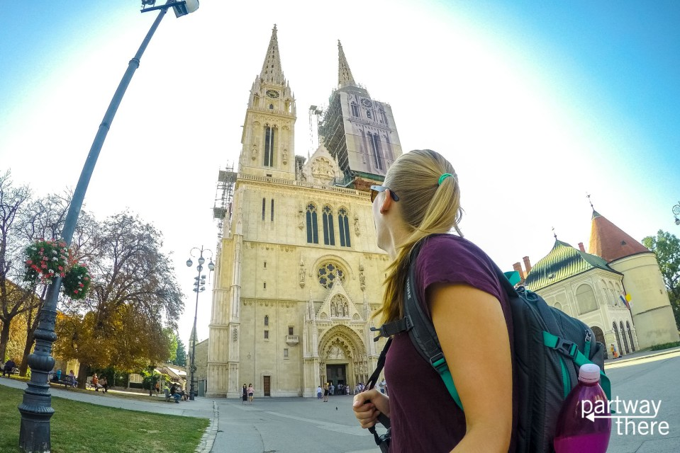 Amanda Plewes outside the cathedral in Zagreb