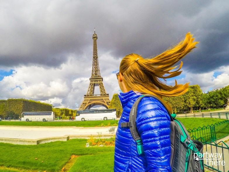 Amanda Plewes looking out at the Eiffel Tower in Paris, France