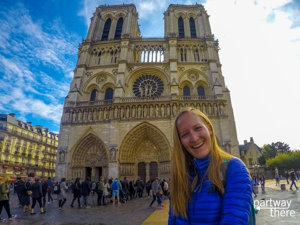 Amanda Plewes in front of the Cathedral of Notre Dame in Paris, France