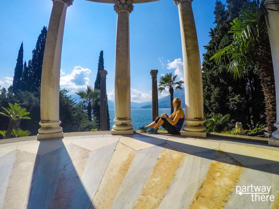 Amanda Plewes looking out at Lake Como from the gardens at Villa Monastero in Varenna, Italy