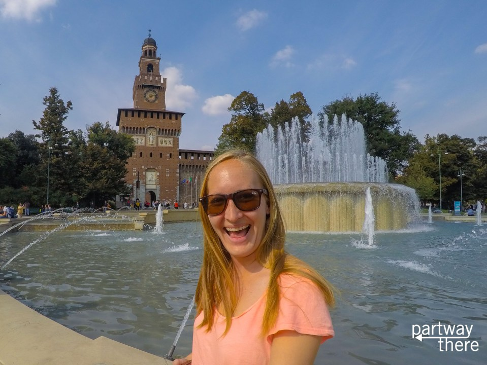 Amanda Plewes in front of Sforza Castle Milan